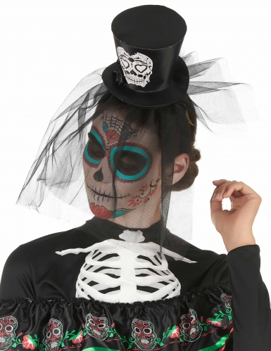 Svart minicylinderhatt med slöja i Dia de los Muertos-stil