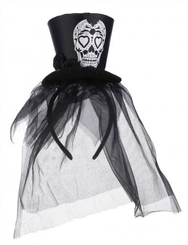 Svart minicylinderhatt med slöja i Dia de los Muertos-stil-1