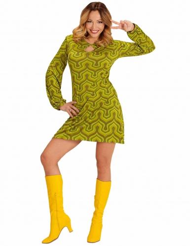 Groovig grön discoklänning för vuxna till maskeraden