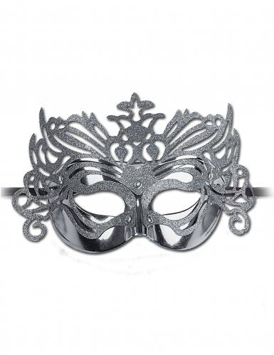 Lyxig silvrig ögonsmask i venetianskstil för vuxna