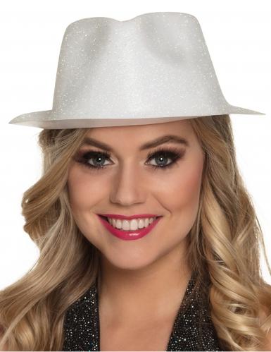 Vit hatt i plast med paljetter för vuxna-1