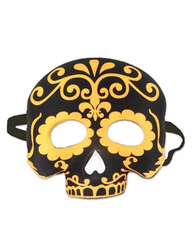 Svartgul mask i Dia de los Muertos-stil till Halloween