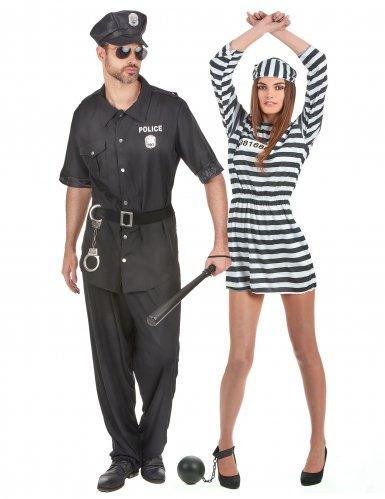 Polis och fånge pardräkt vuxen