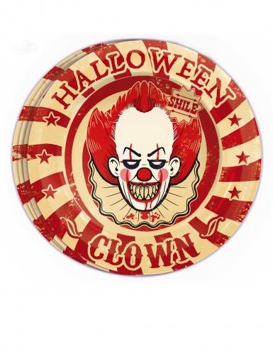 8 Papptallrikar med läskig clown 23 cm