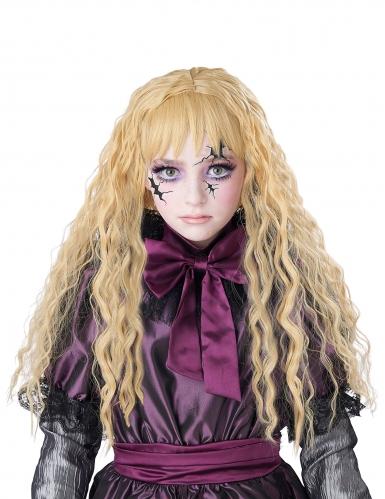 Lång lockig blond barnperuk-1