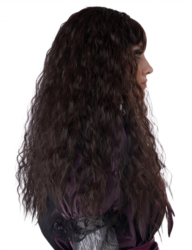 Lång lockig brun peruk barn-1