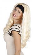 Blond lång peruk med pannband