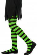 Randiga strumpbyxor gröna och svarta Barn