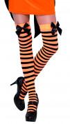 Randiga knästrumpor med rosett för vuxna i orange och svart