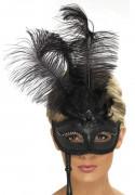 Venetiansk mask på skaft svart med fjädrar