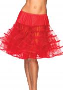 Medellång kjol transparent röd kvinna