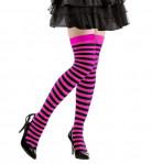 Randiga strumpor i svart och rosa vuxna