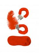 Kit med röda pälsaccessoarer vuxen