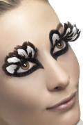 Bruna och vita lösögonfransar med fjärdrar för vuxen