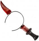 Diadem med blodig kniv i plast