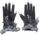 Handskar med silverklor vuxen Halloween