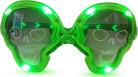 Lysande döskalleformade glasögon i grönt