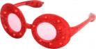 Röda ovala glasögon med glitter