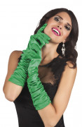 Gröna långa satin handskar för vuxna