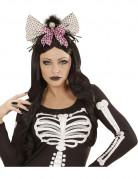 Diadem med dödskalle och rosett Halloween vuxen