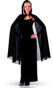 Glittrig svart mantel med huva 115 cm Halloween
