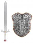 Silver riddarkit svärd ochSköldi plast barn