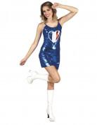 Blå klänning för vuxna med franska flaggan i ett hjärta