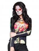 Vacker t-shirt med tryck av skelett och blommor till Halloween
