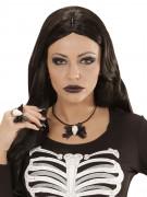 Dödskalle med rosett - Halsband till Halloween