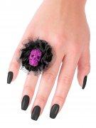 Snygg dödskallering i violett - Halloweentillbehör